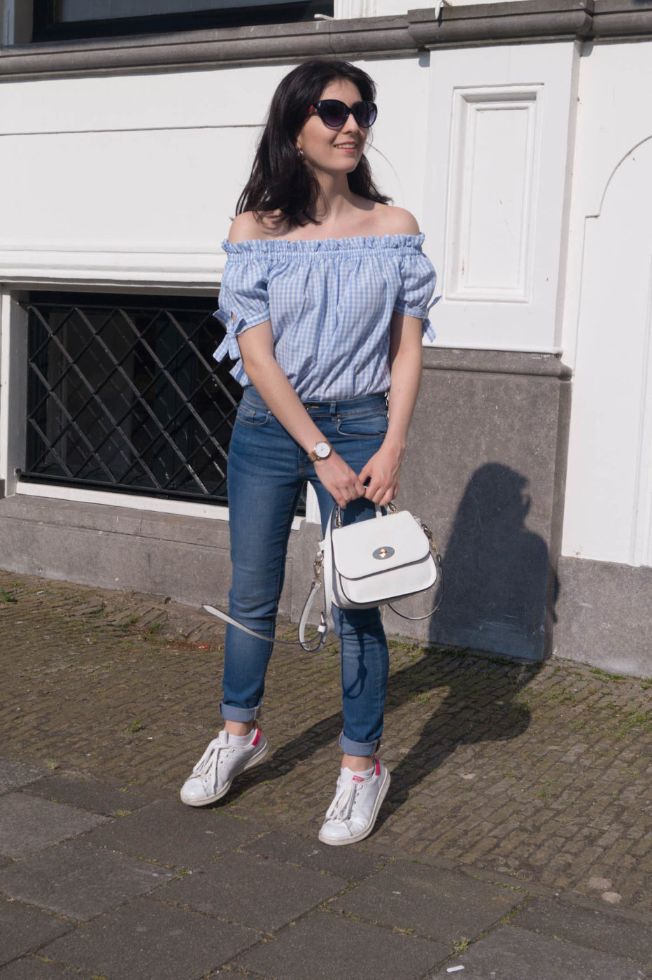 Gingham top with jeans