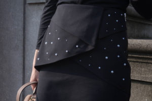 DIY black skirt with pearls