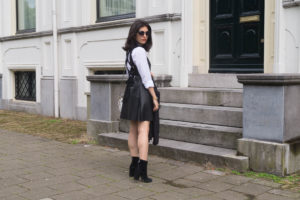 Faux leather dress with white shirt