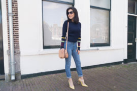 thecolourfulbouquet-Navy color block sleeve sweater
